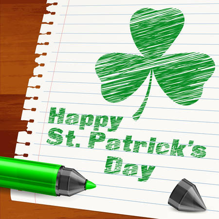 Handdraw lettering for Patrick day, inscription text and green clover. Vector illustration