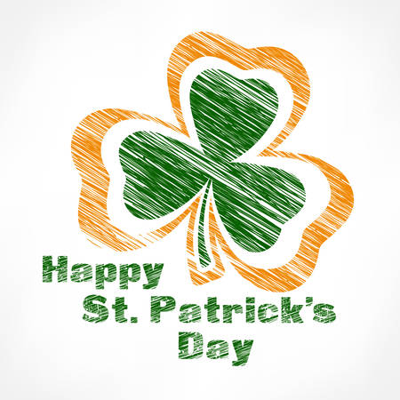 Happy Patrick day, green shamrock with text on white, vector illustration Illustration