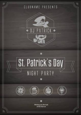 Saint Patricks Day poster with beer, clover and inscription text. Irish holiday design on dark. Vector illustration Illustration