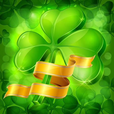 Green clover leaves or shamrock with golden ribbon, vector illustration for Patrick day Illustration