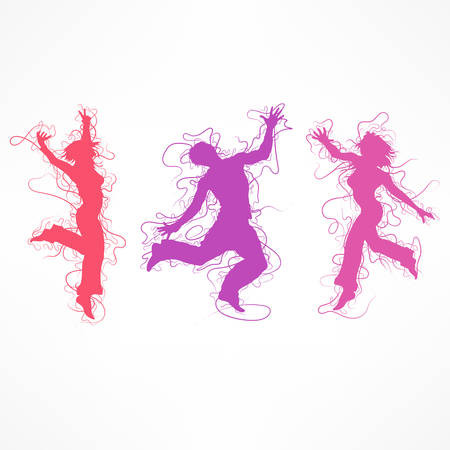Activity like dance female figure on white. Vector illustration of woman dancing, yoga, acrobatics, sports.