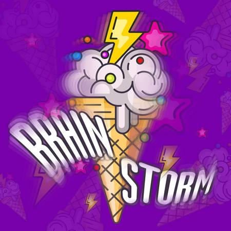 Brain ice-cream, ice cream brainstorming vector illustration in violet