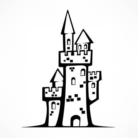 Retro castle sketch, antique royal building. Illusztráció