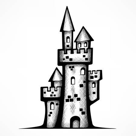 Retro castle sketch, antique royal building