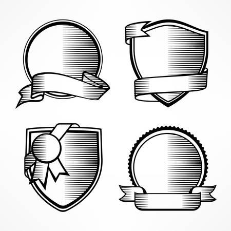 Sketch badge set, vintage award sign on white. Ilustracja