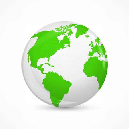 Concetto di terra verde, ecologico su bianco.