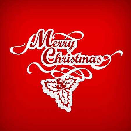 Frohe Weihnachten Hand Schriftzug Inschrift mit Stechpalme Beere auf Rot, Vektor-Illustration