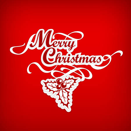 Merry Christmas hand lettering inscription with holly berry on red, vector illustration