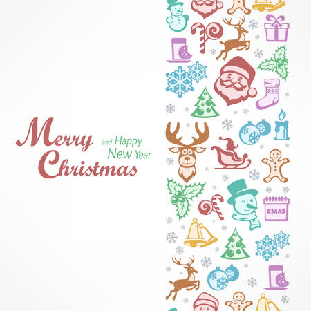 Merry Christmas card in color, for New Year and Christmas design. Vector illustration.
