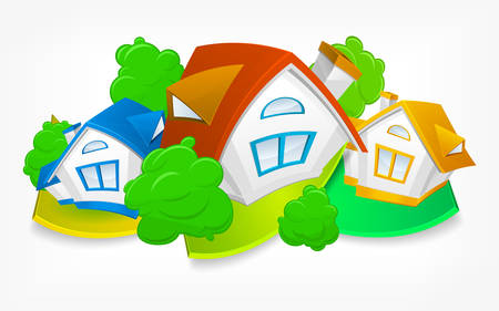Rural landscape, small animated house with green trees Illustration