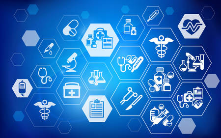 Medical symbol and infographic elements on blue