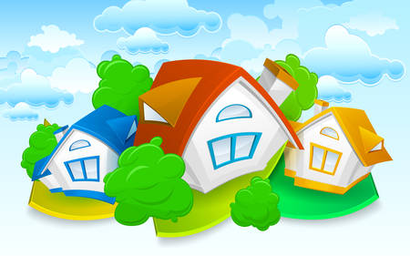 Rural landscape, small animated house with green trees and sky, vector illustration