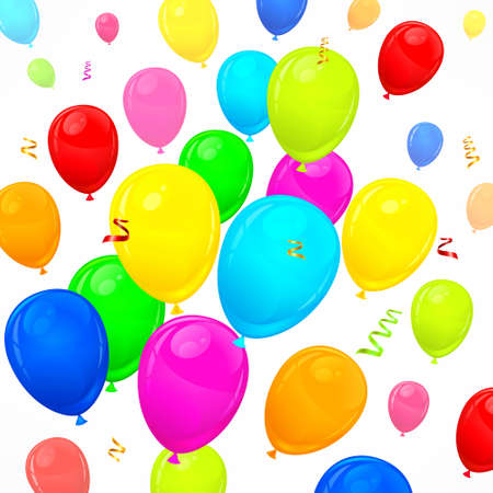 Party decorations background with color air balloons, vector illustration