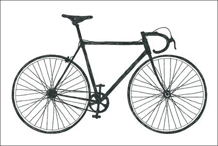 Classic road bike, fixie cycles stylized tree