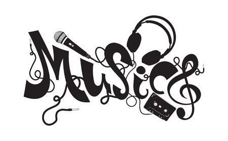 chillout: Stylish Font composition on a musical theme, created in the minimal style, doodles black and white colors