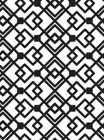 Seamless Black And White background Geometric Lines Square Shape Pattern