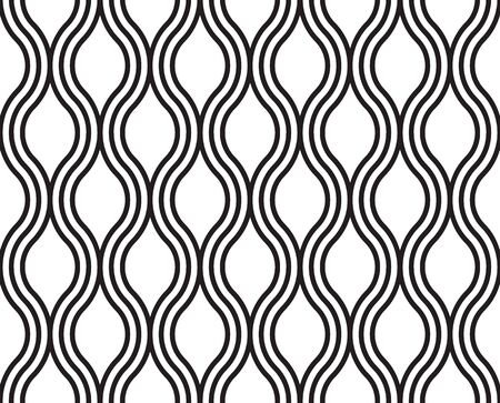 wave: Abstract wavy seamless pattern, lines wave. Black and white background