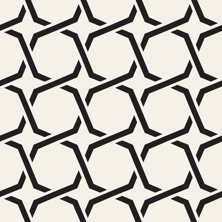 Seamless Black White Geometric Star Grid Pattern Abstract Background