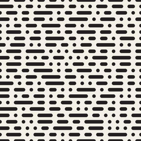 Nahtlose Schwarzweiss-Morse-Code gestrichelte horizontale Linien Muster Zusammenfassung Hintergrund Vektorgrafik