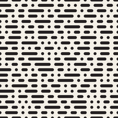 Seamless Black and White Morse Code Dashed Horizontal Lines Pattern Abstract Background Иллюстрация