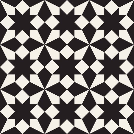tessellation: Seamless Black and White Geometric Square Cross Tessellation Pattern  Abstract Background