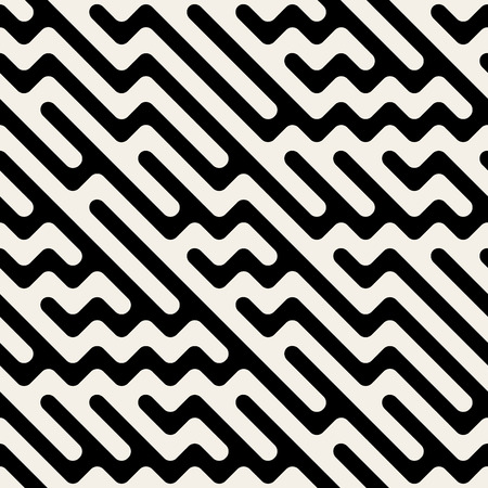 mishmash: Seamless Black and White Hand Drawn Diagonal ZigZag Lines Irregular Pattern. Abstract Geometric Background Illustration