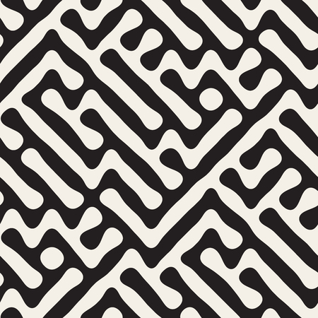 Seamless Freehand Geometric Rounded Maze Pattern. Abstract Geometric Background Design Illustration