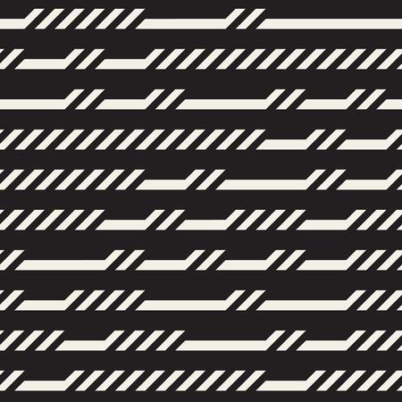 lineas horizontales: Blanco y negro sin fisuras horizontales rectangulares líneas irregulares patrón geométrico. Diseño abstracto del fondo geométrico