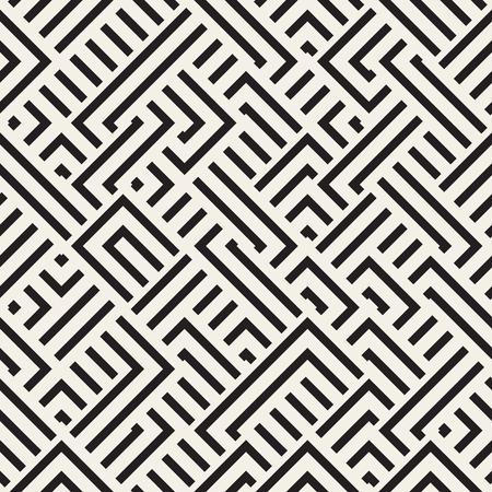 interlacing: Seamless Black And White Diagonal Irregular Interlacing Lines Geometric Pattern. Abstract Geometric Background Design Illustration