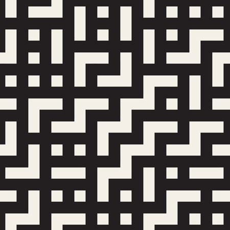 tetris: Vector Seamless Black And White Rectangular Shapes Irregular Geometric Pattern. Abstract Geometric Background Design
