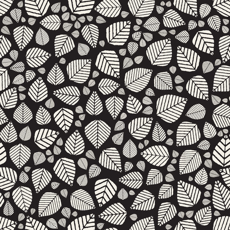 jumble: Vector Seamless Black And White Hand Drawn Leaves Jumble Pattern Background Design