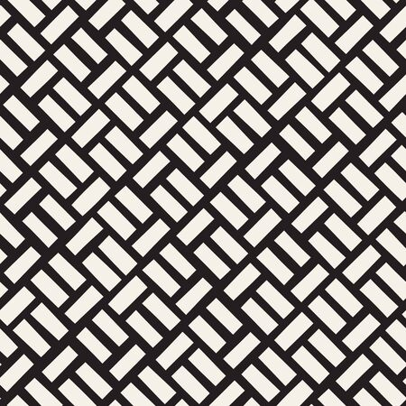 pavement: Vector Seamless Black And White Diagonal Rectangles Pavement Pattern. Abstract Freehand Background Design
