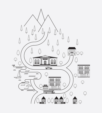 Abstract line flat landscape. Route landscape in modern linear style. Simple city landscape view with school, houses, car, tree, ship. Mountain plains landscape perfectly suit for web