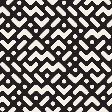 mishmash: Vector Seamless Black And White Rounded ZigZag Geometric Irregular Pattern. Abstract Geometric Background Design