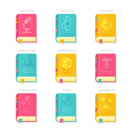 history book: Nine School Lessons. Biology, Physics, Fine Art, Chemistry, Geography, History, Literature Math Geometry Book Covers Vector Illustration