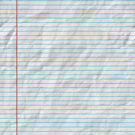 college ruled: Raster Seamless Horizontal Lines On Folded Paper . Realistic Texture Rendering