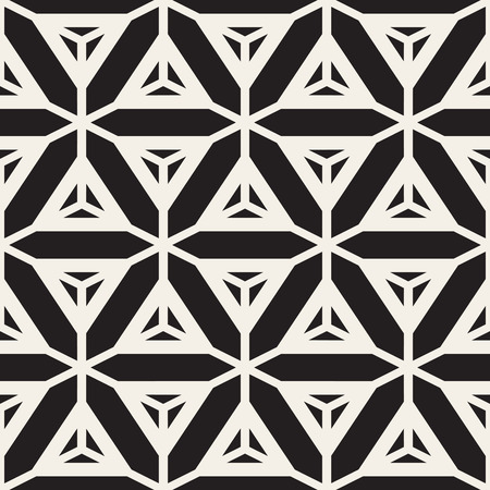 tessellation structure: Vector Seamless Black And White Star Lines Grid Pattern. Abstract Freehand Background Design