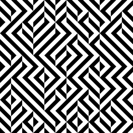 Raster Seamless Black And White Maze Lines Irregular Geometric Patttern Stock Photo