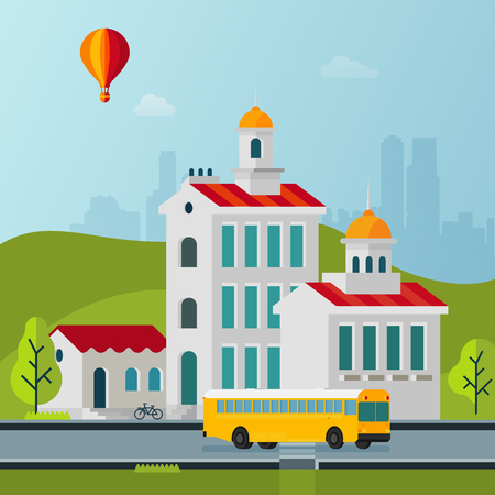 megapolis: Vector Flat Style Cityscape Buildings Street and Bus Illustration Illustration