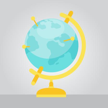 geographic: Vector Geographic Earth Globe Flat Style Illustration Illustration