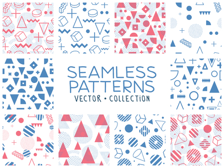 Geometric memphis seamless isolated patterns in set for fashion and wallpaper. Universal colorful decorative fun background. Blue pink colors