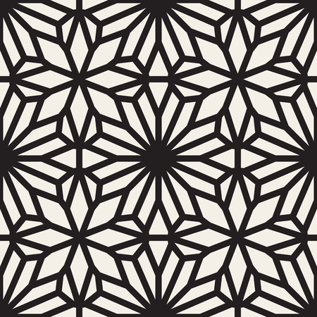 Vector Seamless Black and White Lace Ornamental Pattern. Abstract Geometric Background Design Illustration
