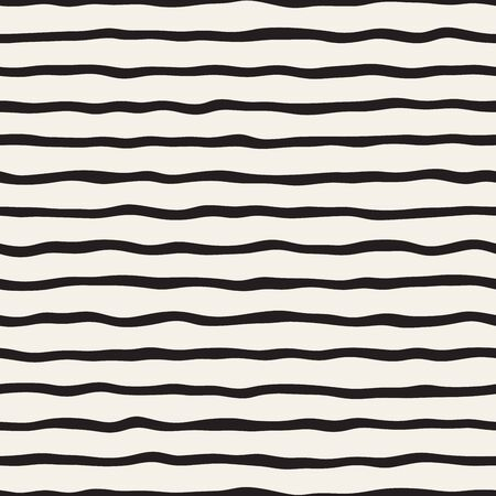 undulate: Vector Seamless Black and White Hand Drawn Stripes Pattern. Abstract Freehand Background Design