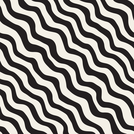 Vector Seamless Black and White Hand Drawn Wavy Diagonal Stripes Pattern. Abstract Freehand Background Design Illustration