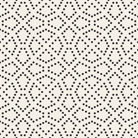 Vector Seamless Black and White Dotted Lattice Pattern. Abstract Geometric Background Design. 矢量图片