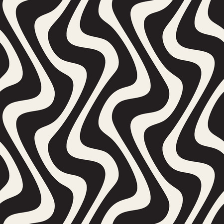 Vector Seamless Black and White Wavy Lines Pattern. Abstract Freehand Background Design