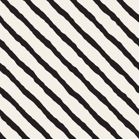 slanted: Vector Seamless Black and White Hand Drawn ZigZag Diagonal Stripes Pattern. Abstract Freehand Background Design