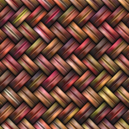 basketry: Twill Weave Texture. Abstract Geometric Background Design. Seamless Multicolor Pattern.
