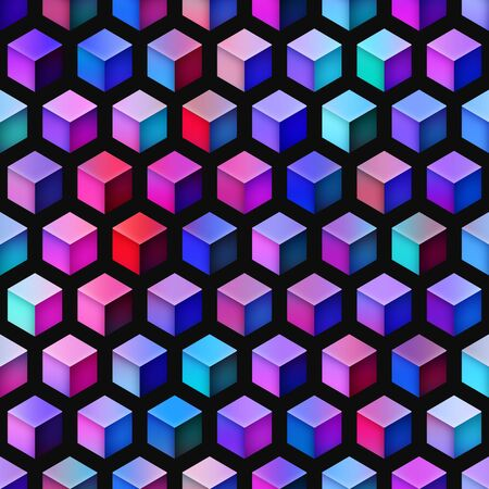 tiling: Gradient Cubes Tiling. Abstract Geometric Background Design. Seamless Multicolor Pattern