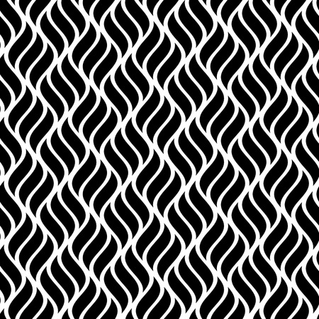 Vector wave illustration of seamless black and white abstract pattern Illustration